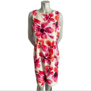 Mario Serrano Pink Floral Sheath Dress Size 12